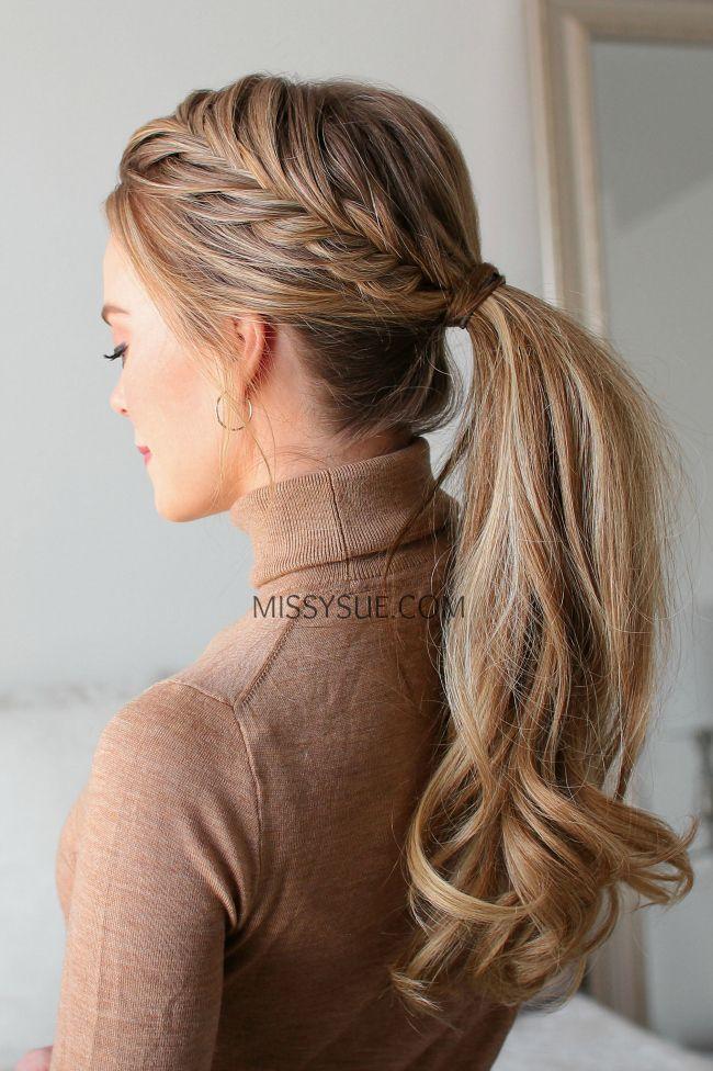Fischschwanz Französisch Zopf Pferdeschwanz #ponytailhairstyles