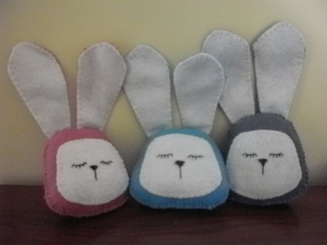 Rabbit heads sewn by Sheila for Michelle at Creative Charm. These will be attached to crocheted snuggle blankets.