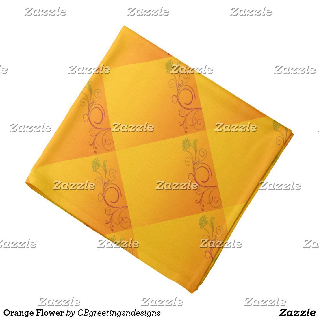 Orange Flower Bandana