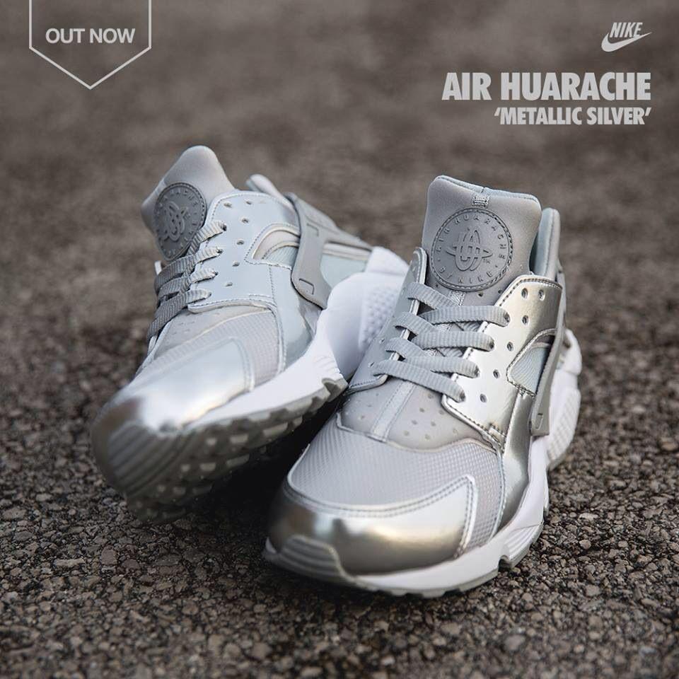 Nike Air Huarache Metallic Silver | New nike shoes, Nike air ...