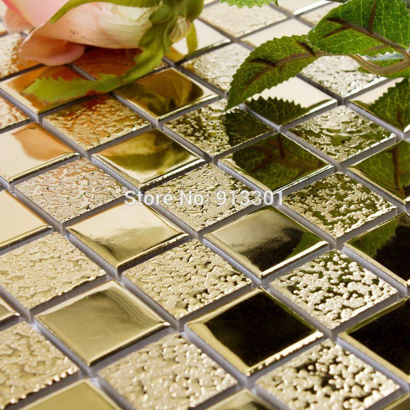 Cheap Cerámica vidriada azulejos de mosaico de porcelana dorado ...