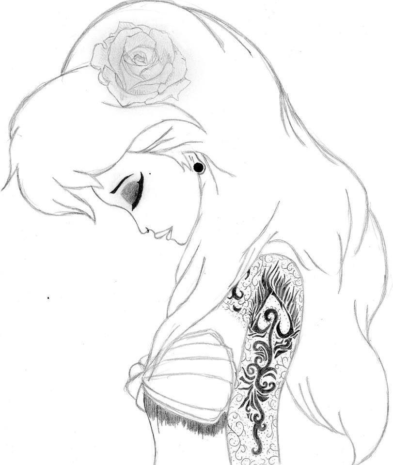 ariel punk disney art  emo disney disney drawings sketches