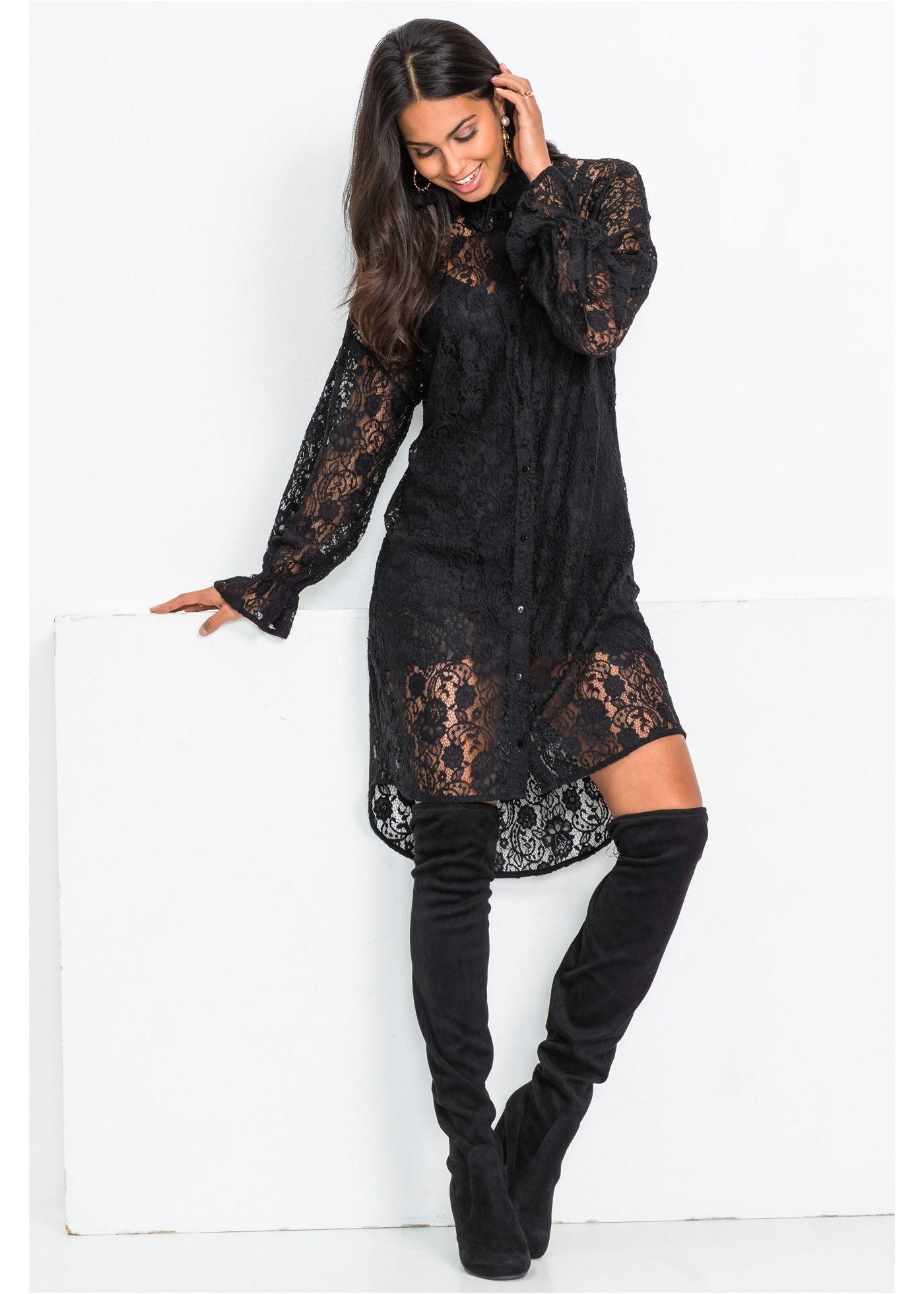 Hemdblusen-Kleid aus Spitze schwarz jetzt im Online Shop ...