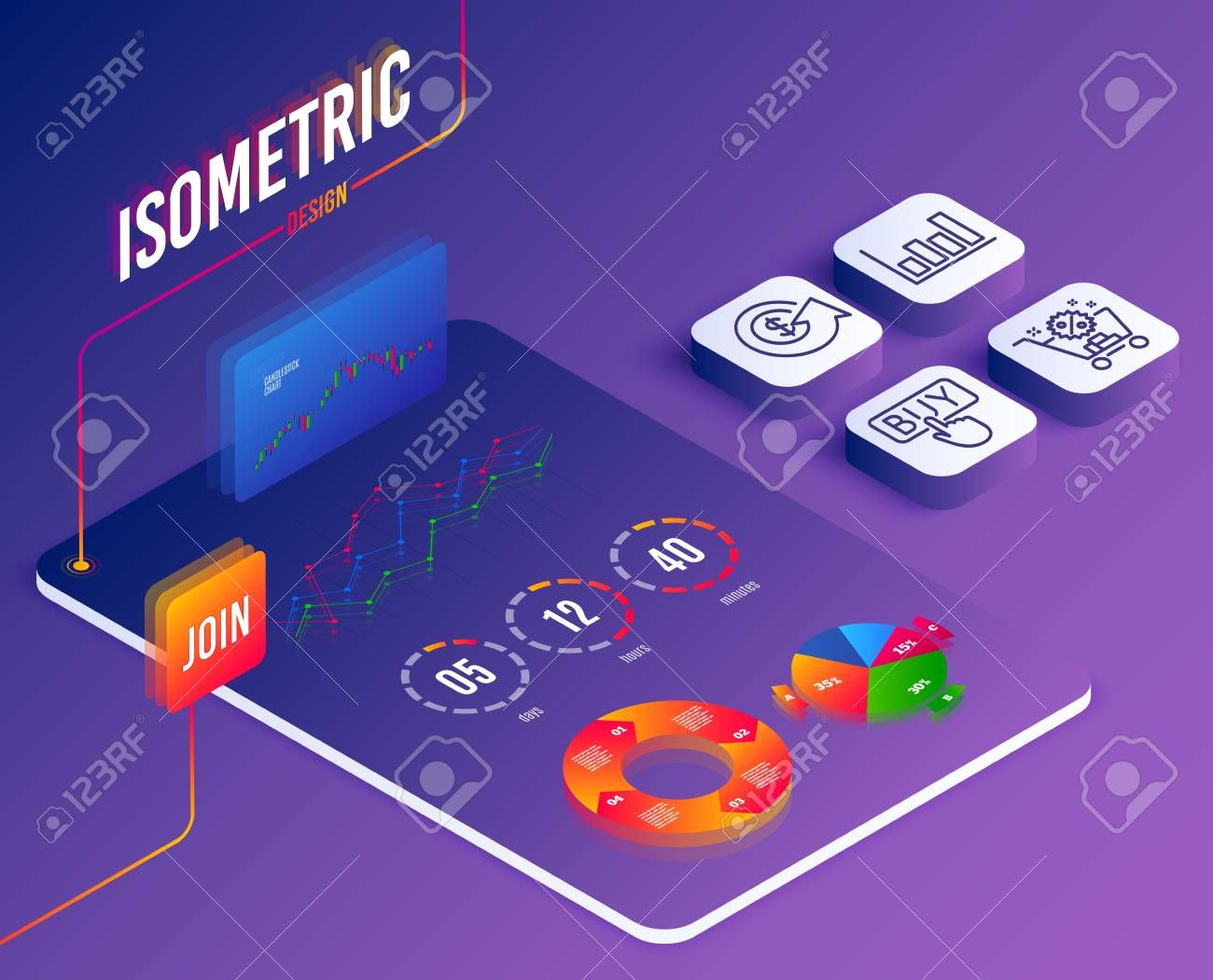 Isometric vector. Set of Shopping cart, Dollar exchange and Report diagram icons. Buying sign. Discount, Money refund, Financial market. E-commerce, Software financial market. Isometric report diagram ,