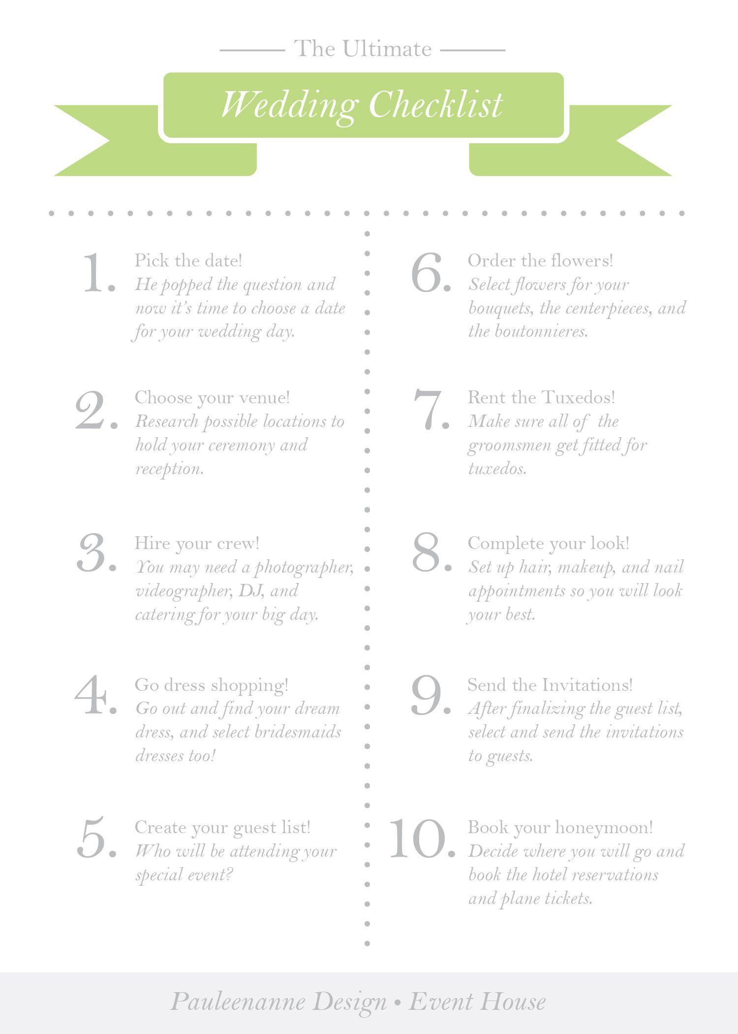 The Ultimate Wedding Checklist | Pauleenanne Design Event & Brand
