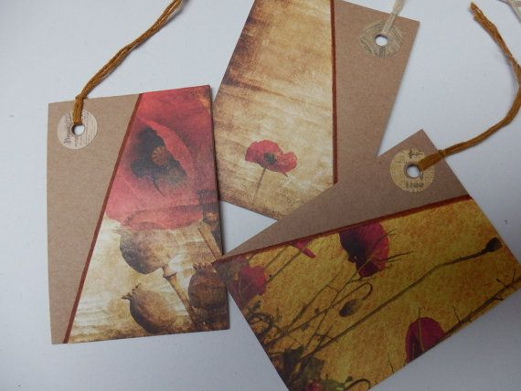 Poppy gift tags. wild flower gift tags. by Pearlypantscrafts, £3.00