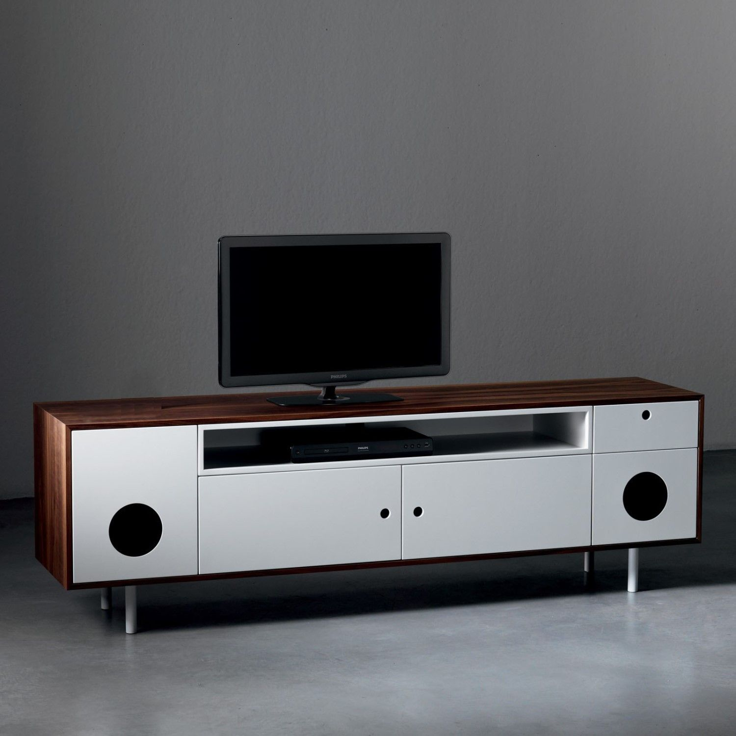 Tv television stands austin s furniture - Caixa Tv Stand Cabinet With Built In Speakers