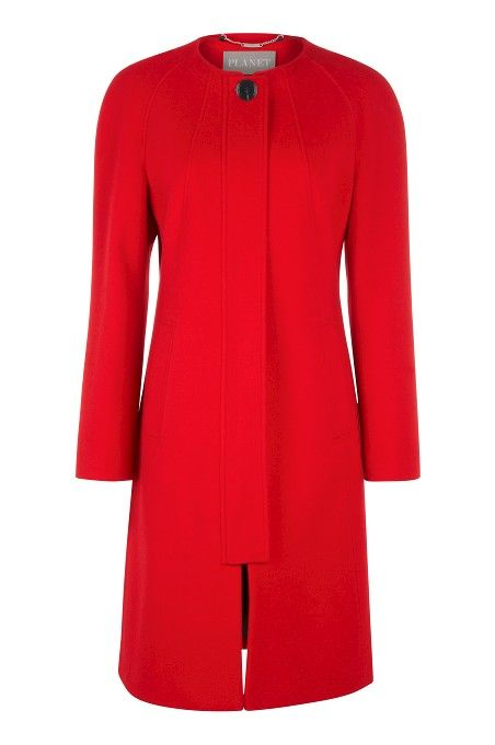 Mid-length Red Collarless Coat | Yesilds trench coats Jacket ...