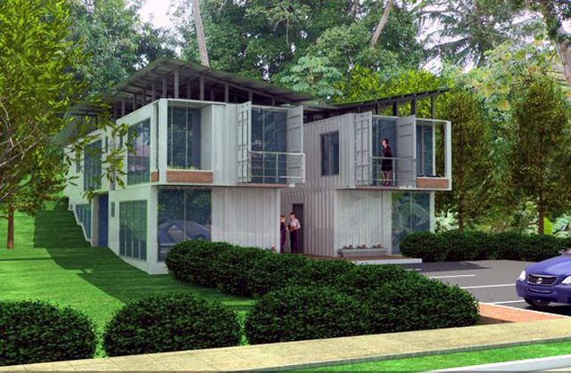 two story with balconies shipping container homes pinterest. Black Bedroom Furniture Sets. Home Design Ideas