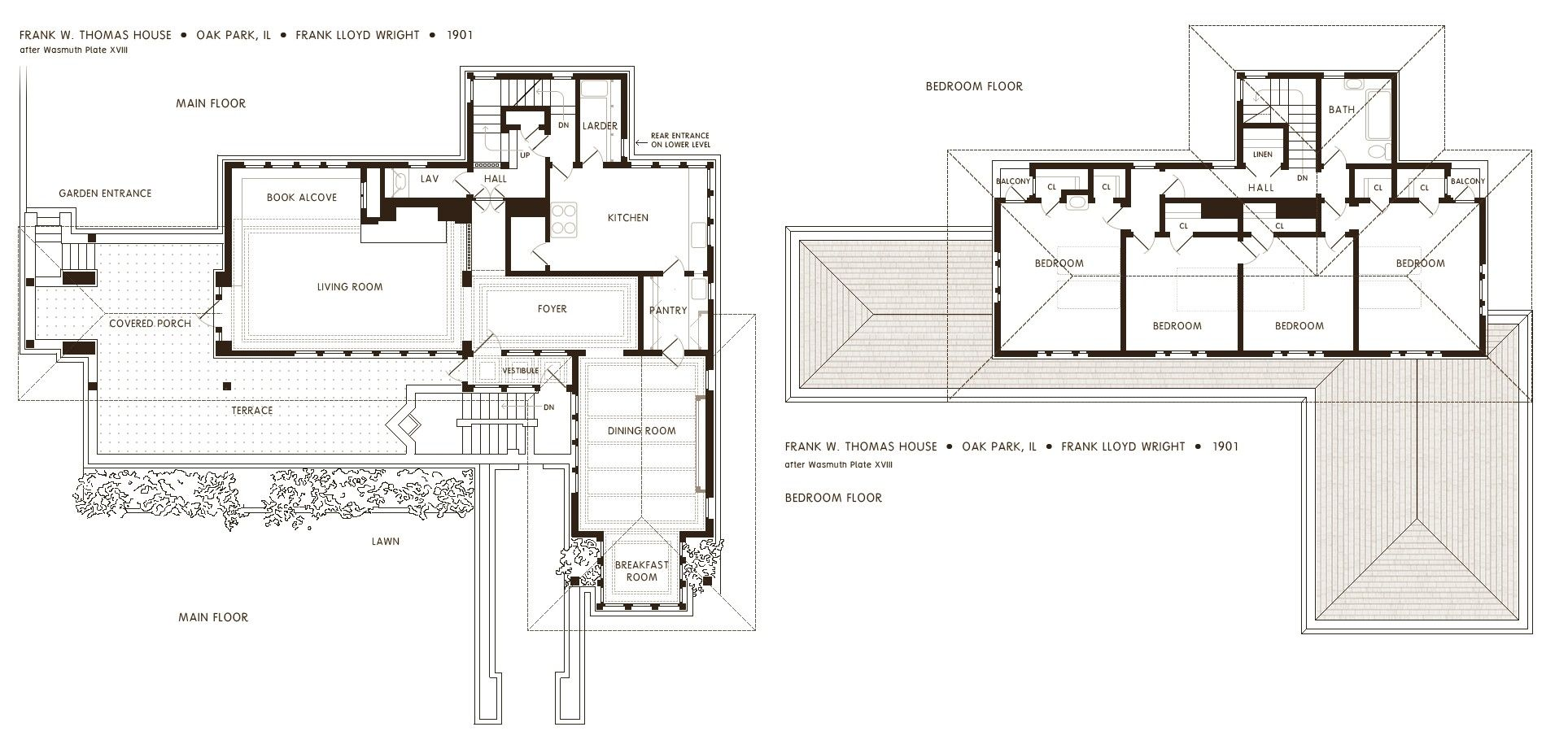 The Floor Plan Of The Frank Thomas House By Frank Lloyd Wright 1901 1927 910 Usonian House Studio Floor Plans Frank Lloyd Wright Homes