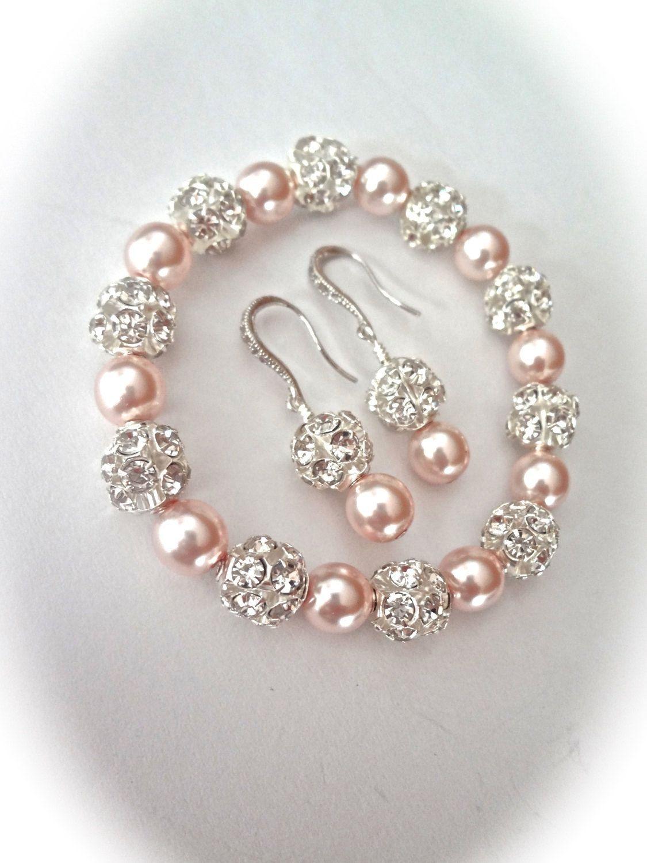 Pearl bracelet and earring set Chunky Swarovski pearls