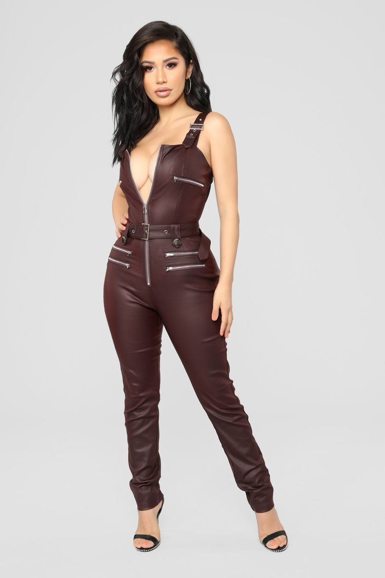 Hunt You Down Overall Jumpsuit Burgundy In 2020 Fashion Nova Outfits Fashion Burgundy Jumpsuit