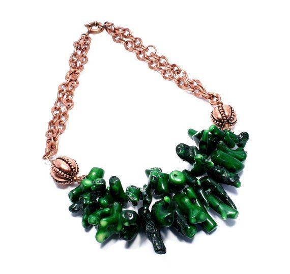 Green Coral Copper Necklace Green Branch от BigSkiesJewellery