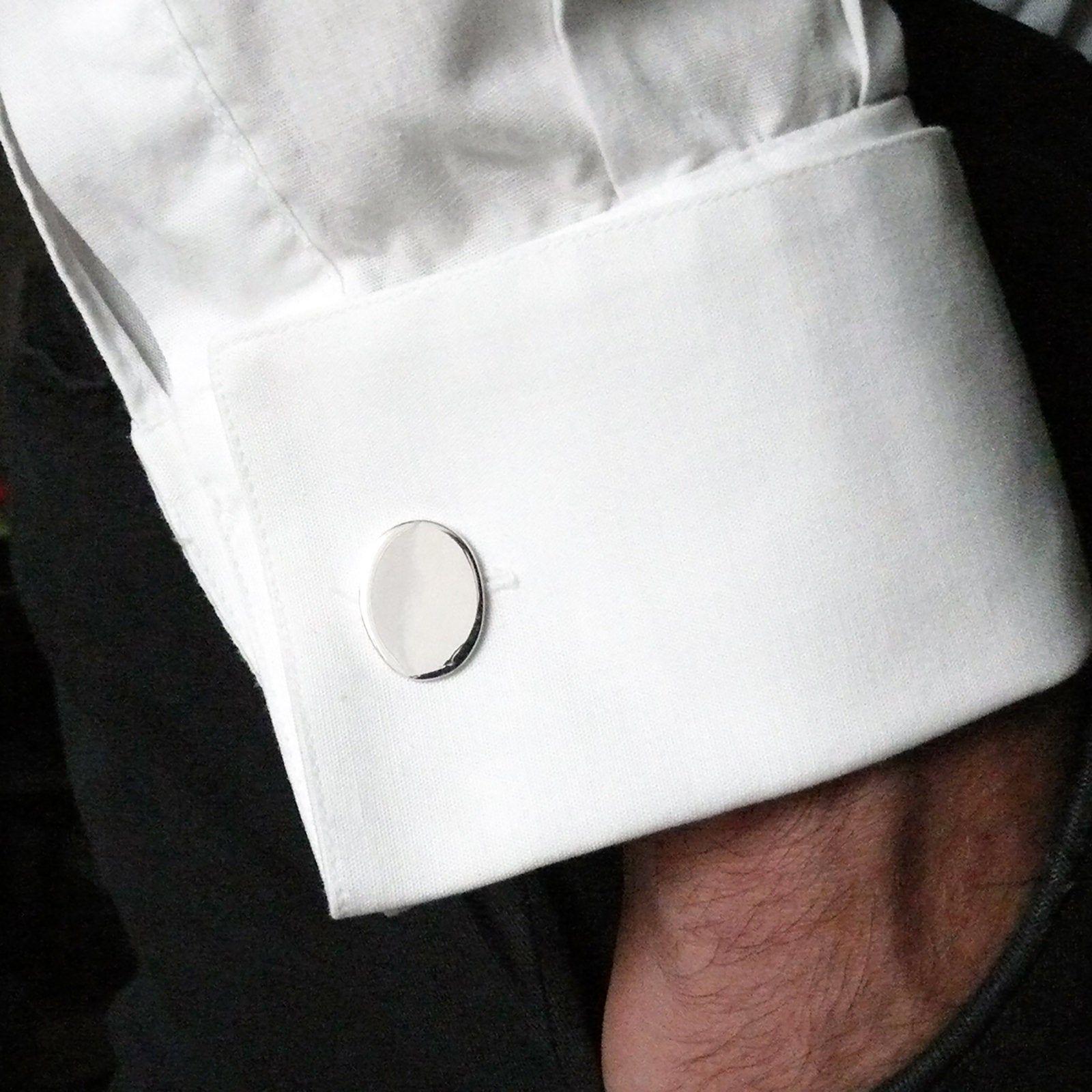 reputable site 8a82d 7a000 Polsini gemelli ovali argento 925 per camicia uomo cerimonia ...
