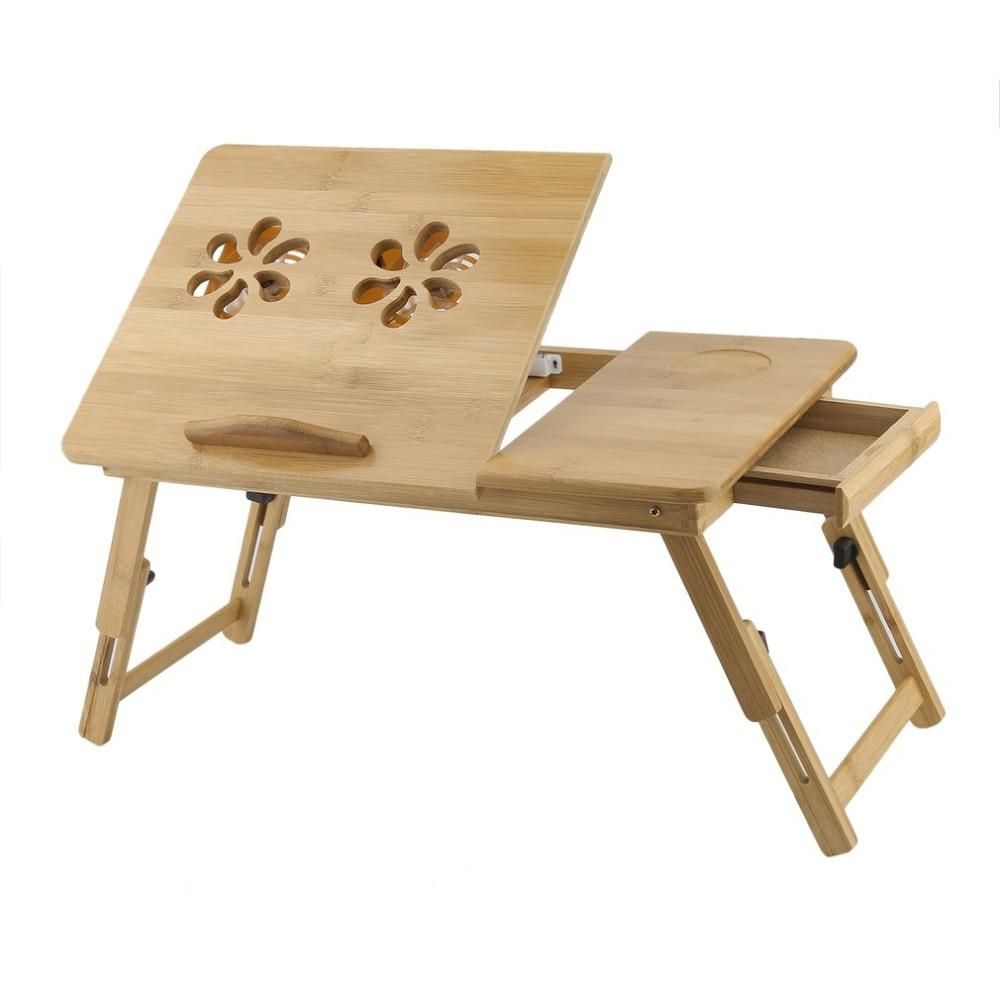 Classical Bamboo Computer Stand Foldable Laminating Laptop Desk