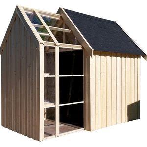 Abri de jardin serre Vertigo bois brut | Cabane jardin verriere ...