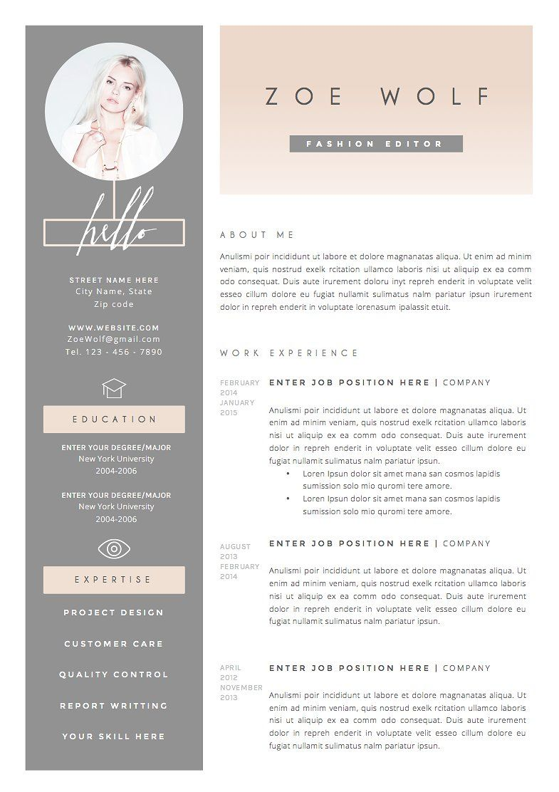 Resume Template 5pages | Dolce Vita by The.Resume.Boutique on ...