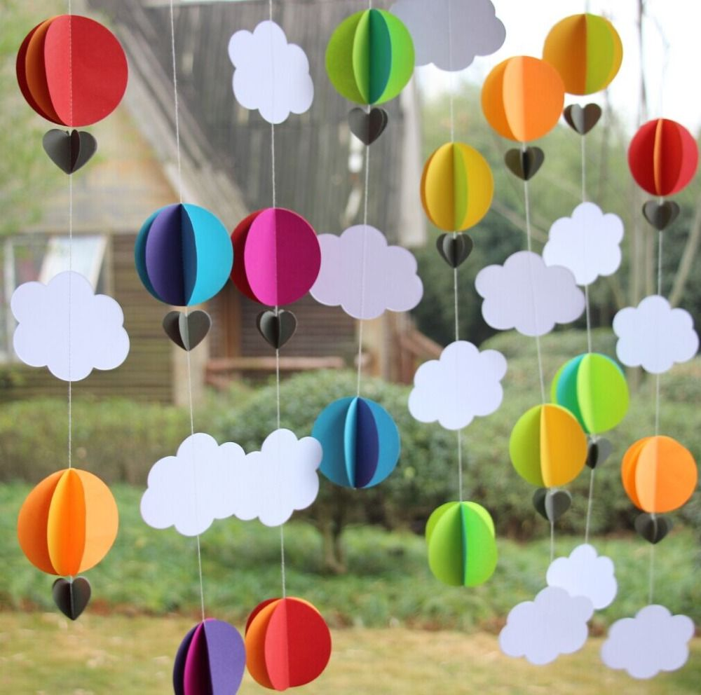 Rainbow color paper garland 3d hot air balloon for 3d decoration for birthday