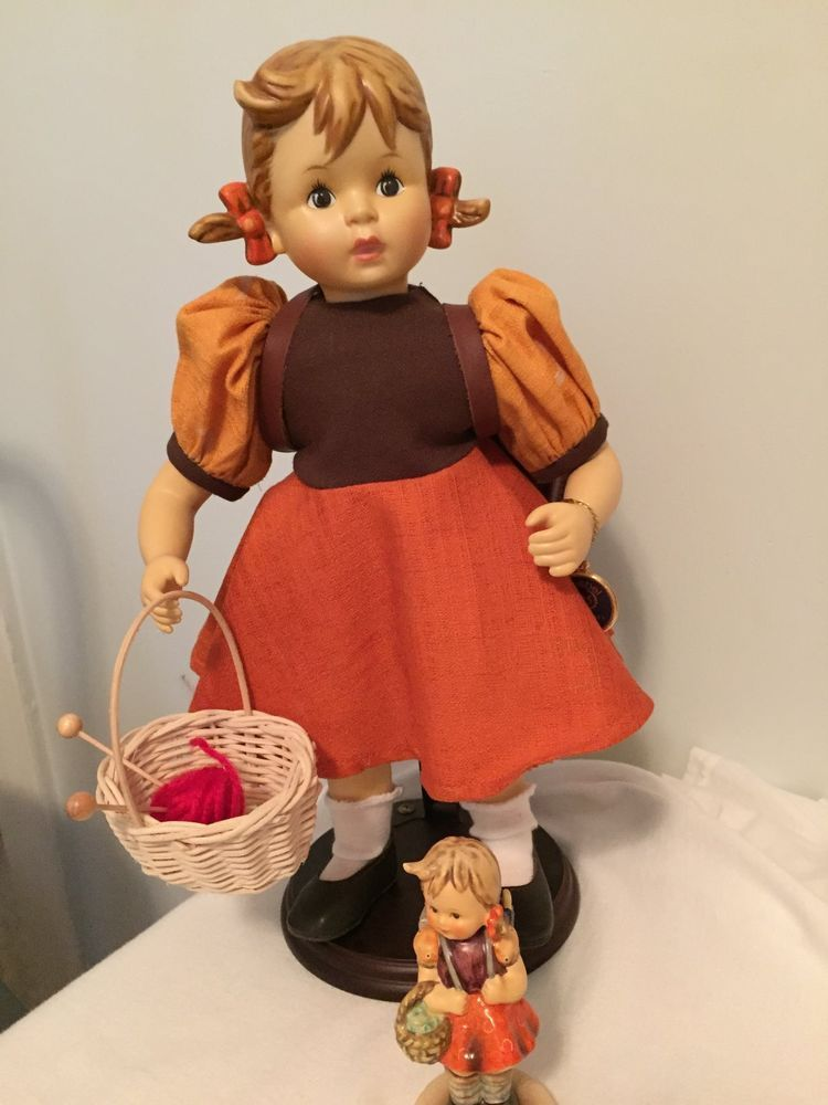 "M.I. Hummel Goebel School Girl 14"" Porcelain Doll with matching 4"" figurine"
