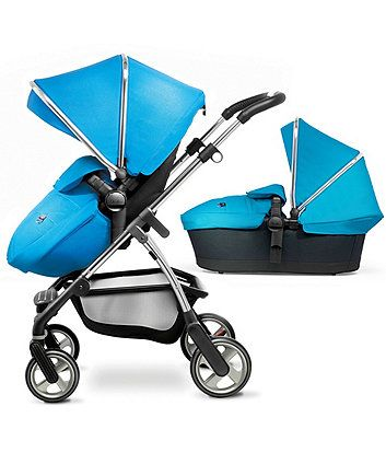 Silver Cross Wayfarer Combination Pram and Pushchair System with Hood & Apron Pack - Sky Blue & Chrome