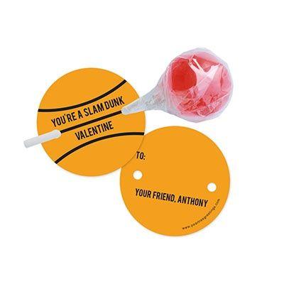 Slam Dunk Lollipop Holder Classroom Valentines – Basketball Valentine Cards
