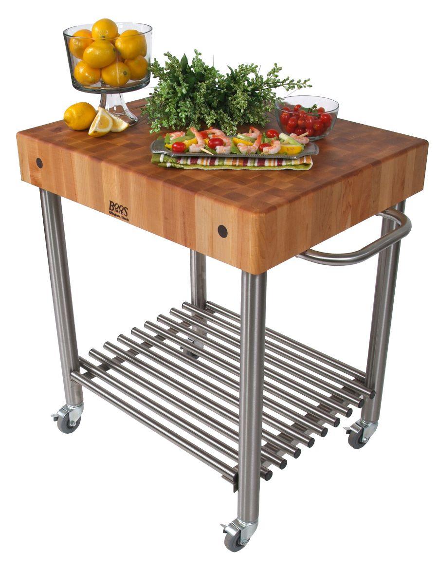 Maple Cucina Du0027Amico Cart U2013 5u201d Boos Block On Stainless Steel Base |  ButcherBlockCo.com