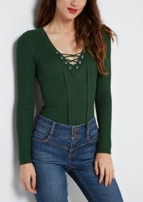616e2baa019 Dark Green Lace-Up Sweater