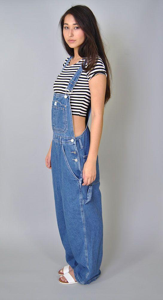 49b3339ab9c Vintage Denim Overalls 90s Calvin Klein Bib Overalls Denim Boyfriend Fit  Designer Oversized Long Jean OSFM