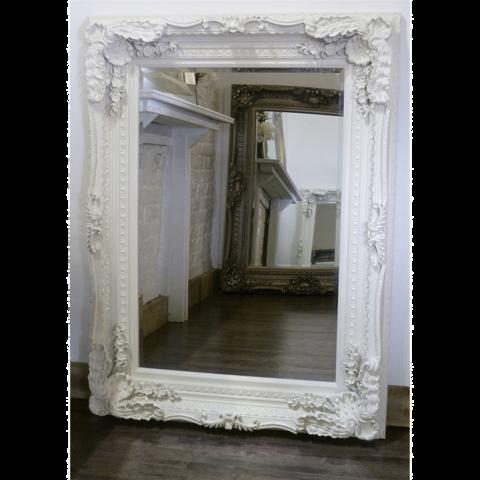 Chelsea White Carved Louis Rectangular Mirror 60 X 48 150cm X 120cm Antique Mirror Wall Ornate Mirror Wood Framed Mirror