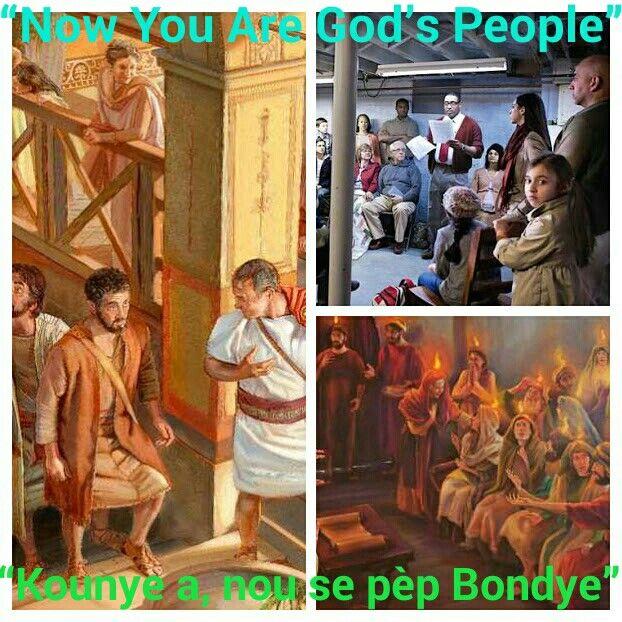 """""""You were once not a people, but now you are God's people.""""—1 PET. 2:10.  """"Gen yon lè nou pa t yon pèp, men kounye a, nou se pèp Bondye."""" — 1 PYÈ 2:10.   THE NEW PEOPLE OF GOD  NOUVO PÈP BONDYE A  """"A PEOPLE FOR HIS NAME""""   YON PÈP POU NON L""""  REBIRTH OF GOD'S PEOPLE  PÈP BONDYE A VIN EGZISTE ANKÒ  """"WE WANT TO GO WITH YOU""""  """"NOU VLE ALE AVÈK NOU""""  FIND PROTECTION WITH JEHOVAH'S PEOPLE  CHÈCHE JWENN PWOTEKSYON ANSANM AK PÈP JEWOVA A"""