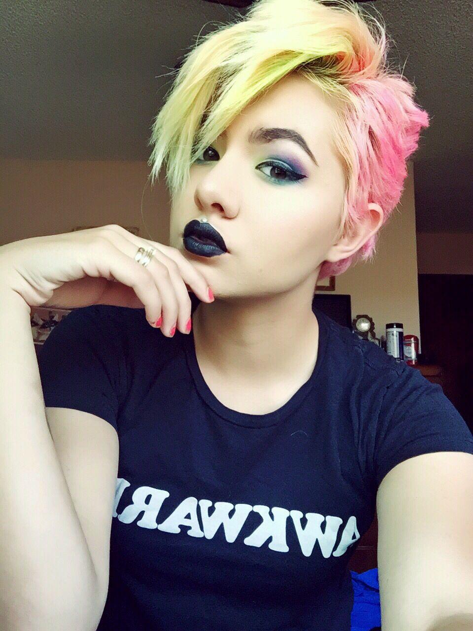 Neon hair, Pink hair, pixie cut, yellow hair