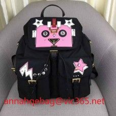 ee16aa0329b5 Prada leather and fabric backpack with robot 1BZ811 2018(yz881409 ...