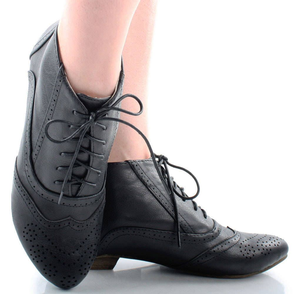 16840814f4a Black Steampunk Lace Up Victorian Granny Perforated Womens Flat ...