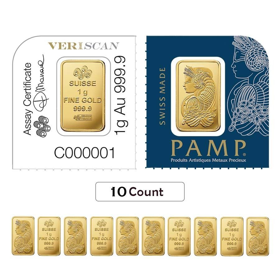 Lot Of 10 1 Gram Gold Bar Pamp Suisse Lady Fortuna 9999 Fine In Assay From Gold Bar Fortuna Gold