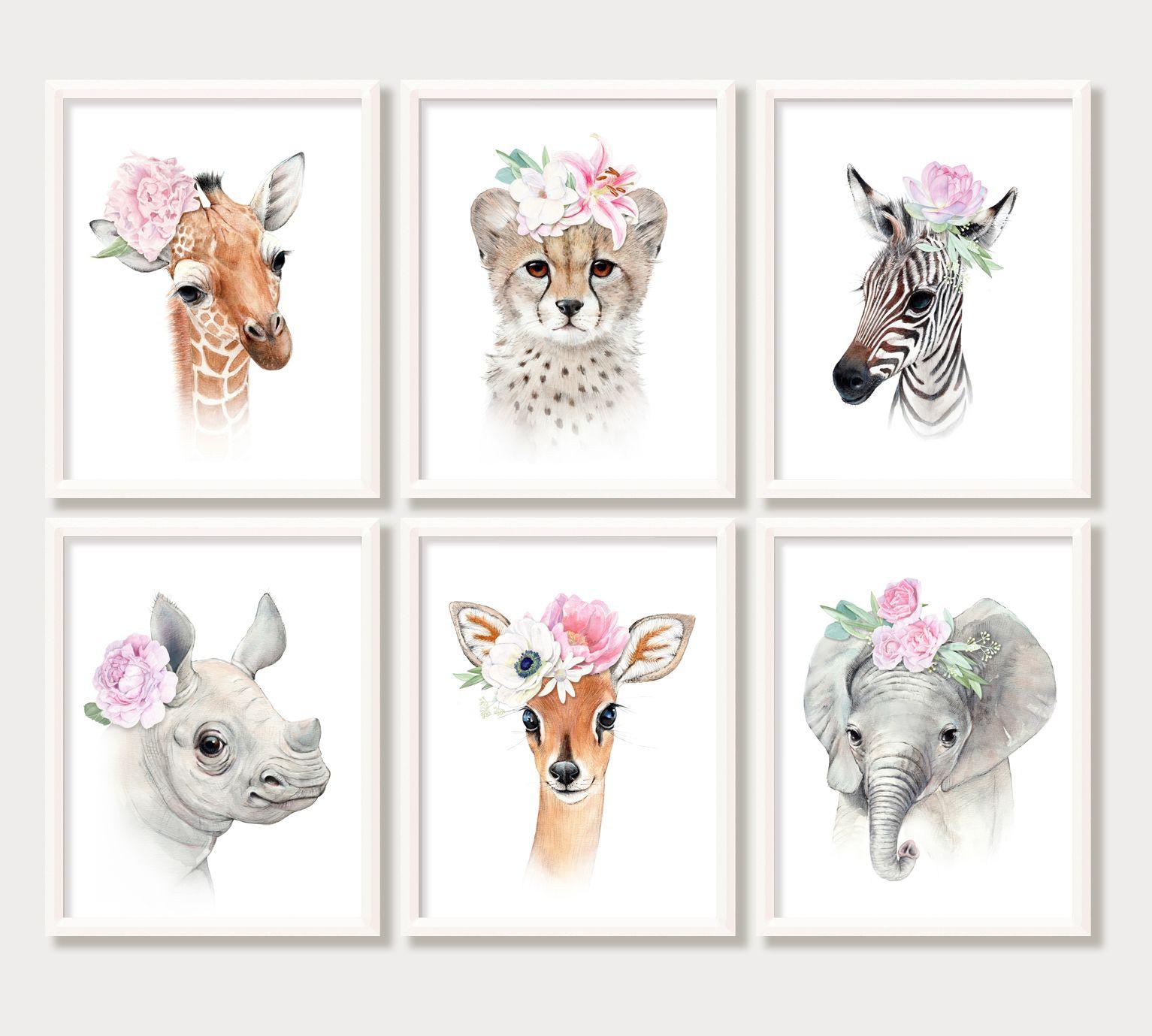 Baby Animals, Paintings, Nursery Decor, Baby Girl room