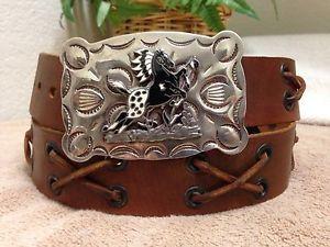 Tex Tan Yoakum Western Leather Belt L Silver Buckle Nickle