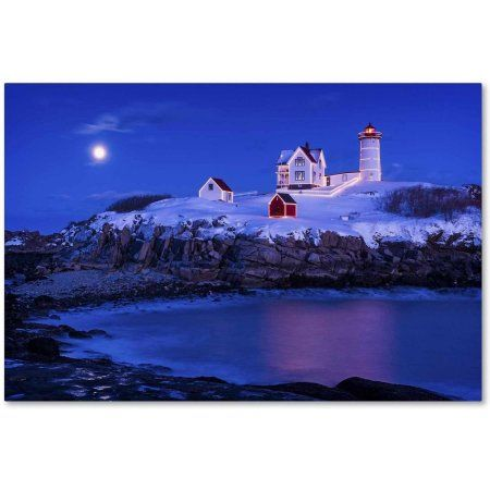 Trademark Fine Art 'Christmas at Nubble' Canvas Art by Michael Blanchette Photography, Size: 12 x 19, Assorted