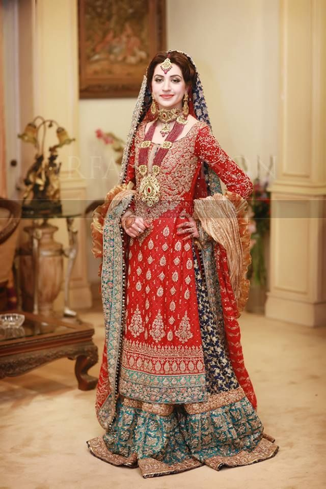30470505d0 Pakistani Style Bridal Lehenga in Red, Navy Blue, and Turquoise ...