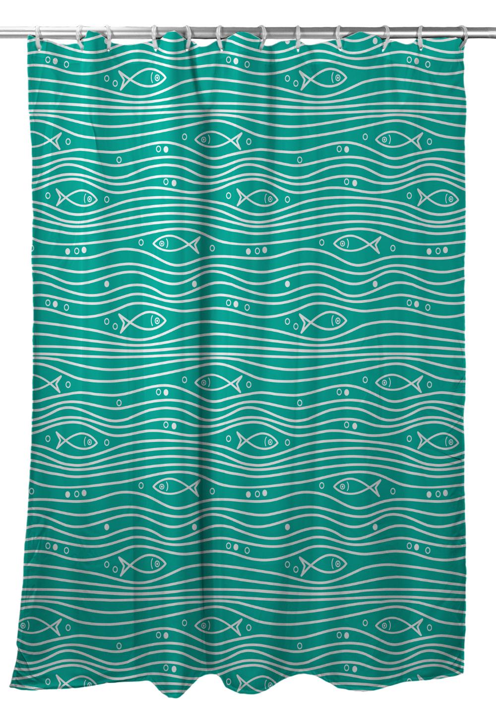 Swimming Fish Shower Curtain Aqua Nautical Shower Curtains