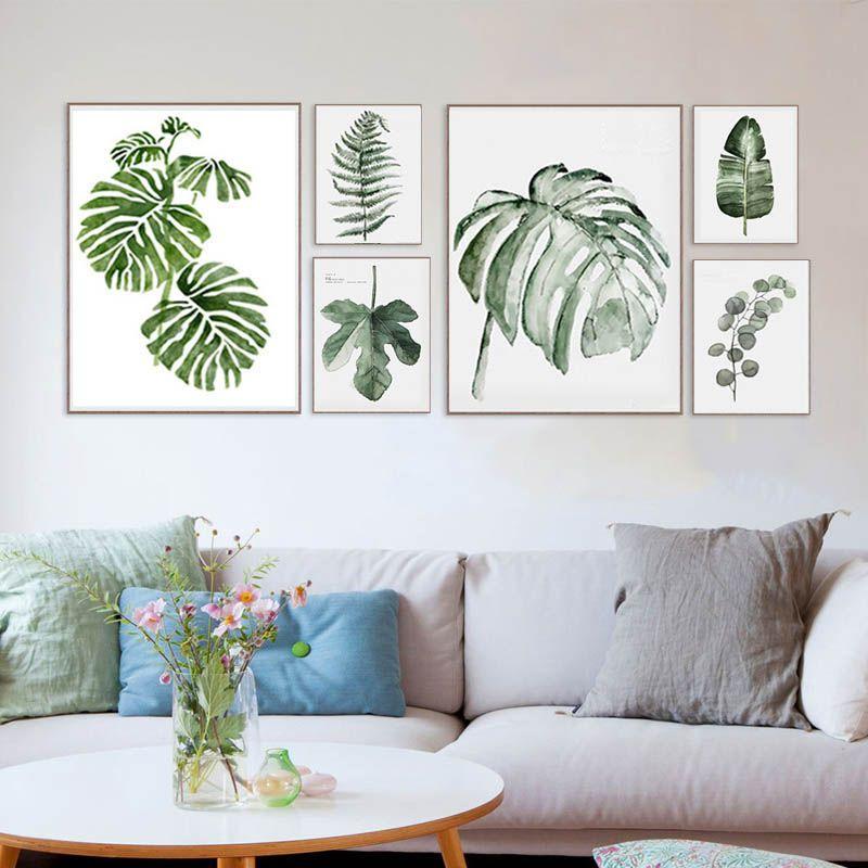 Cheap moderna acuarela hoja verde natural planta tropical - Cuadros para pared ...