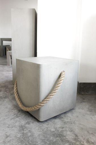 beton hocker mit seil beton ideen pinterest beton design hocker und design. Black Bedroom Furniture Sets. Home Design Ideas