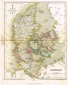 J Archer Map Of Denmark 1850 Maps Map Antique Maps