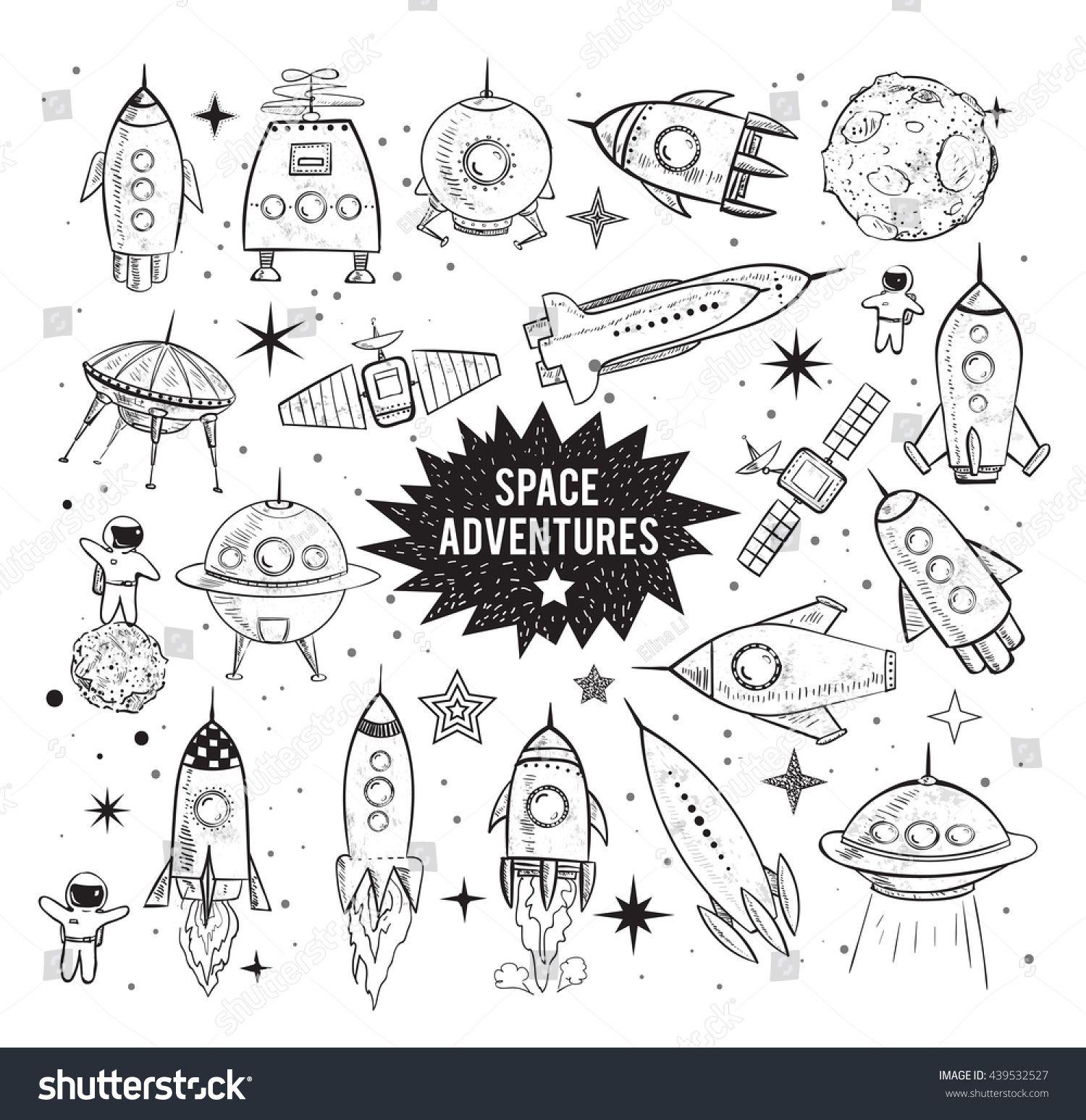 Sammlung von skizzenhaften Raumobjekten auf weißem Stockillustration 439532527