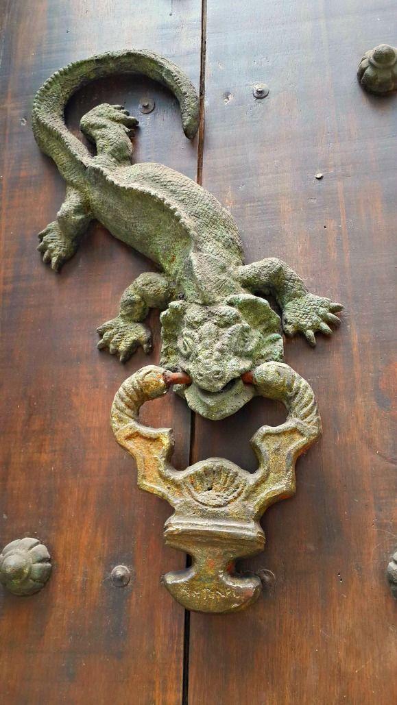 Iguana or Lizard Door Knocker (or Aldaba) in Old Town, Cartagena ...