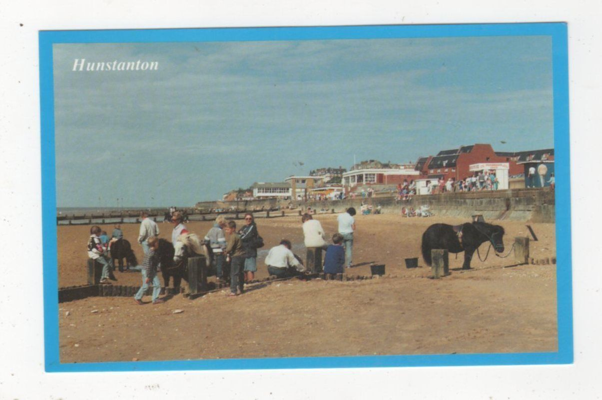 Hunstanton Northern Promenade & Ponies On Beach Postcard 564a | eBay