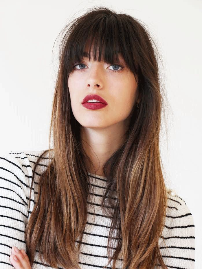 Long Hair Brown Hair Color With Soft Highlights Multitoned Beautyecology Long Hair Styles Long Hair With Bangs Hair Styles
