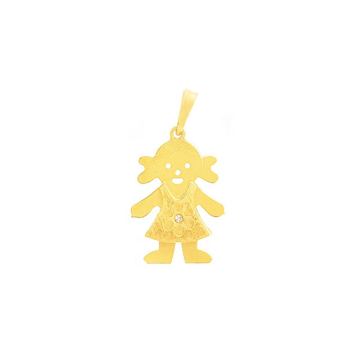 Suave como o caminhar de lindas damas, este delicado Pingente em Ouro Com Pedra  Zircônia a1a2019336