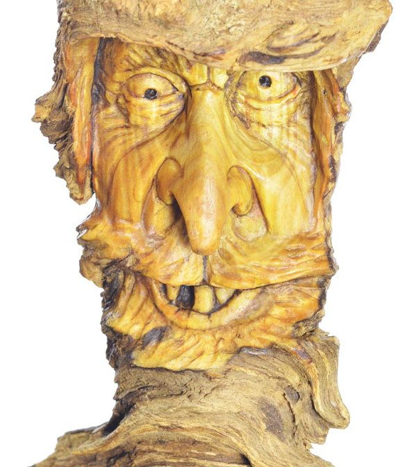 An Original Wood Carving, Mountain Man, Wood Spirit Wood Carving ...