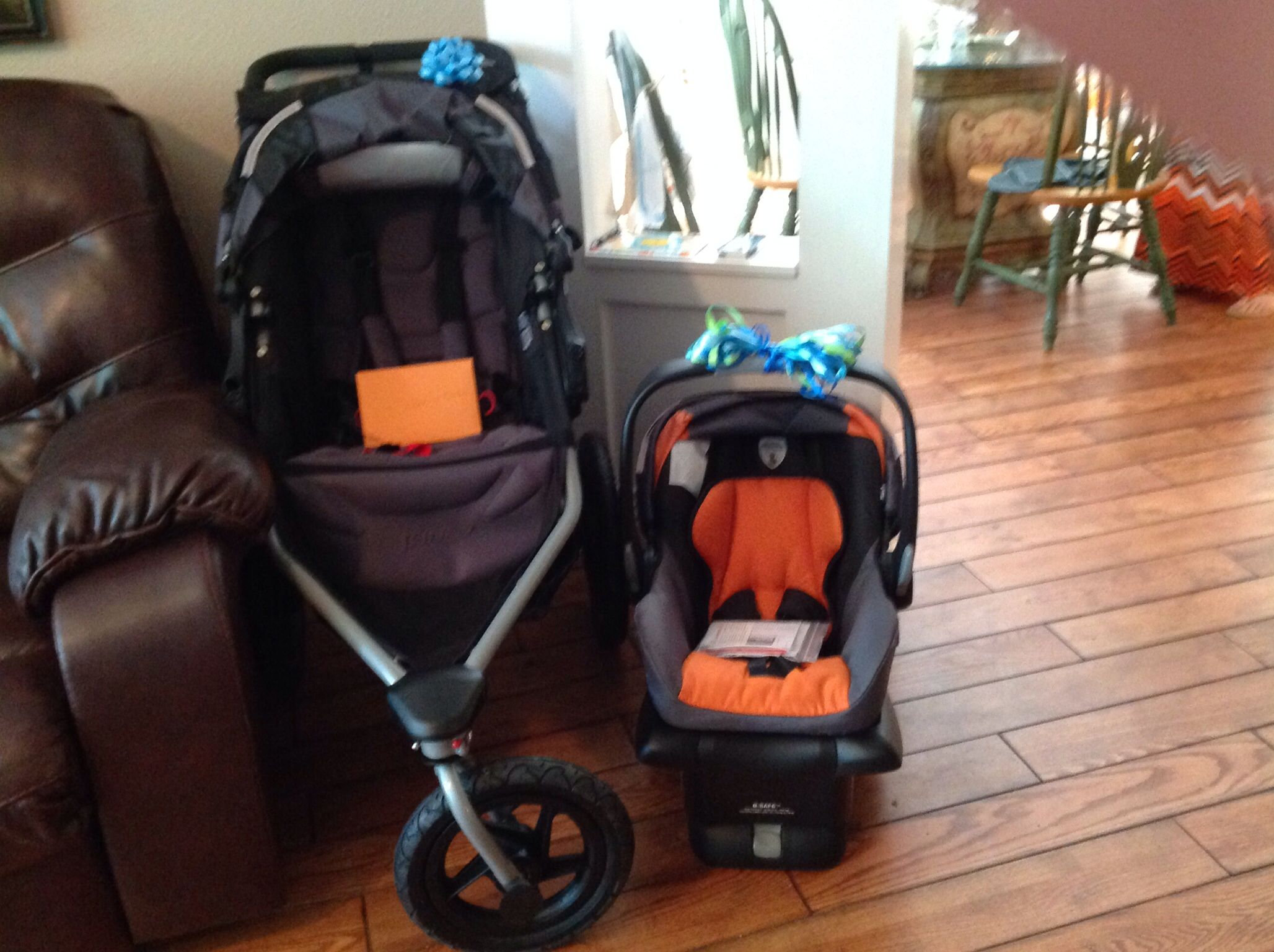 The stroller for Kristin to push REX and she can get her exercise.  CHAD Can use the car seat to ride REX at night when he is colicky