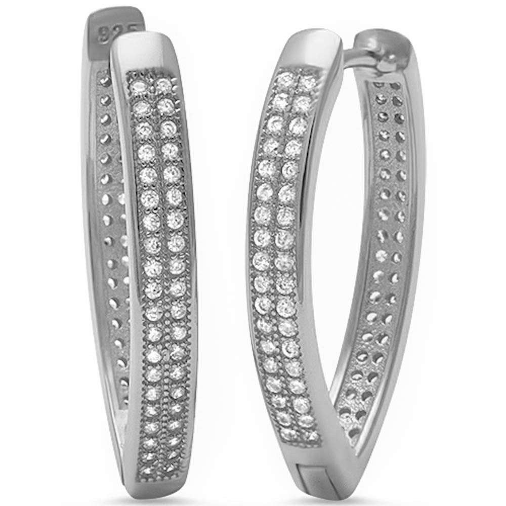 Micro Pave Cz V Shape.925 Sterling Silver Hoop Earring